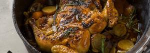 Upside-down chicken potjie