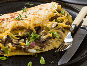 Delicious cheese & mushroom omelette