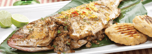 Grilled fish with nut filling